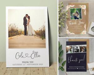 Personalised Wedding Thank You cards inc Envelopes + Photo (W2)