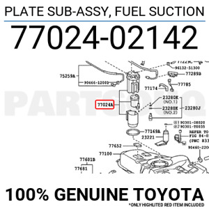 7702402142 Genuine Toyota PLATE SUB-ASSY, FUEL SUCTION 77024-02142