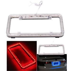 12V Red LED Light Car License Plate Frame Decoration Plastic Cover for US Canada