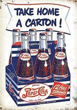 Pepsi-Cola Take casa un SCATOLA PICCOLO ACCIAIO INSEGNA 200mm x 150mm ( OG)