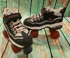 Skechers 4 Wheelers Roller Skates Womens Size 8 Youth Glittery Navy And Red