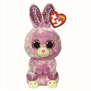 Ty Beanie Boos 36246 Fuzzy the Purple Bunny with Slippers Easter Boo Regular
