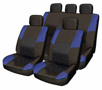 Honda Jazz CRV CRX BLUE & BLACK Cloth Seat Cover Full Set Split Rear Seat