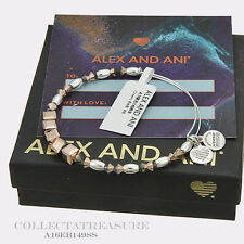 Authentic Alex and Ani CROWN Beaded Swarovski Crystal Shiny Silver Bangle