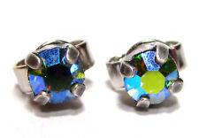 SoHo® Ohrstecker vintage geschliffene Kristalle peridot aurore boreale altsilber