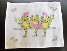 Patti Mann Designs Handpainted Needle Point Canvas Three Dancing Frogs #7220