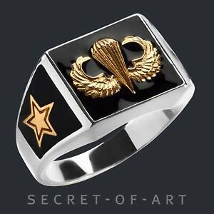 Jump Wings Ring Silver 925Parachute Paratrooper Parachutist Airborne Infantry