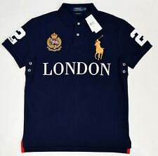 Polo Ralph Lauren señores camiseta polo londres Custom slim fit tamaño m French Navy