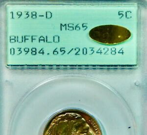 GOLD CAC Sticker on an OGH 1938-D Buffalo Nickel – PCGS MS65