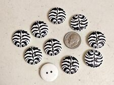 "Pkg 10 ZEBRA PRINT 2-hole White Wood Button 3/4"" (20mm) Scrapbook Craft (1117)"