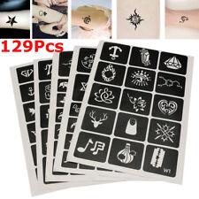 129Pcs Temporary Glitter Tattoo Stencils Template Body Art Airbrush Henna Kit