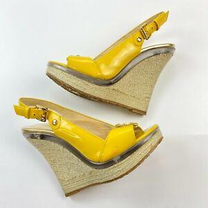 Michael Kors Espadrille Wedge Sandals Size 7 M Leather Peep Toe Slingback Pumps