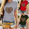 Womens Ladies Short Sleeve Slogan Print Leopard Summer T-shirt Tee Tops UK 10-22