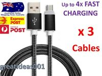 3 x Braided Micro USB Data Sync Charger Cable Cord Android Samsung Galaxy S6 S7