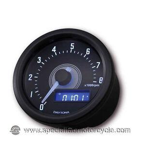 Contagiri Elettronico Daytona Velona Black Scala 0/8000 RPM Cafe Racer