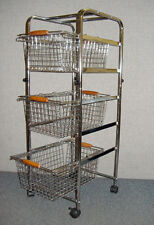 New 3 Tier Wire Rolling Storage Basket Cart with swivel and locking casters