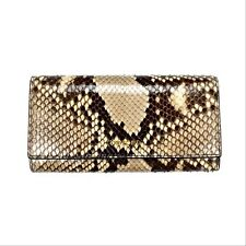 NWT $1k+ TOM FORD Beige Brown Exotic Python Snake Leather Long Wallet AUTHENTIC