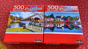 2 PUZZLEBUG JIGSAW PUZZLES 500 PIECES COVERED BRIDGE, NH & PORTSMOUTH HARBOR, NH