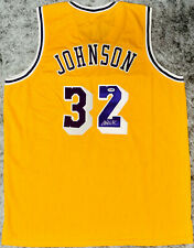 Magic Johnson Signed Gold Yellow Jersey Auto - PSA DNA COA