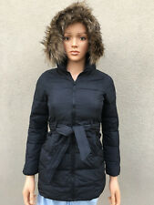 new ABERCROMBIE KIDS GIRL JACKET size LARGE authentic BLACK puffer hoodie fur