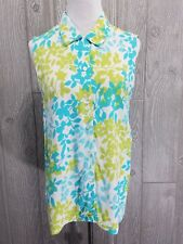 Josephine Chaus Sport Women's Teal Green Floral Button Down Sleeveless Top Sz M