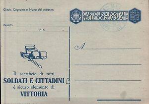 CARTOLINA IN FRANCHIGIA FORZE ARMATE WWII - SOLDATI E CITTADINI VITTORIA (C7-236