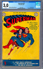 SUPERMAN #57 CGC 3.0 LOIS LANE aka SUPERWOMAN *SUPERBOY #1 FULL PAGE AD* 1949
