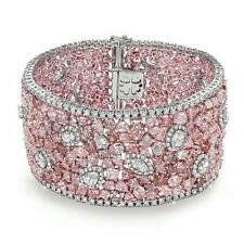 Party Wedding Solid 925 Sterling silver Pink White Beautiful Cz bracelet Jewelry