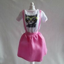 NEW! 2015 Barbie Fashionistas Doll Asian Lea Doll Pink Jumper Dress / Kitty Tee