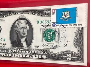 """1976 $2 TWO DOLLAR BILL (NEW YORK ) Stamp Flag CONNECTI """"July 4"""" UNCIRCULATED"""