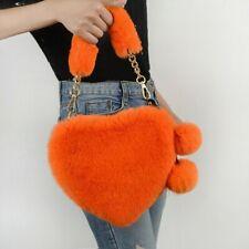 Women Faux Fur Tote Shoulder Bag Handbag Furry Fluffy Heart Pom Pom Cute Yellow