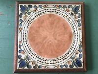 Italian Pottery Tile Trivet Made In Italy Wood Frame Ceramic Classical Medallion