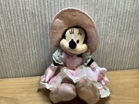 Disney Minnie Mouse Plush Soft Toy Teddy 10 Inch Pink Dress And Bonnet Rare