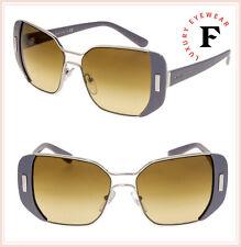 PRADA MOD Geometric PR59SS Grey Silver Brown Metal Gradient Sunglasses 59S