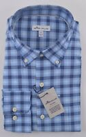 Peter Millar NWT Sport Shirt Size Large In Light Blue W/ Blue & White Plaid
