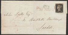 1840 SG3 1d BLACK PLATE 1a MAY 20th 1840 COVER TO LONDON No.2 HANDSTAMP (QD)