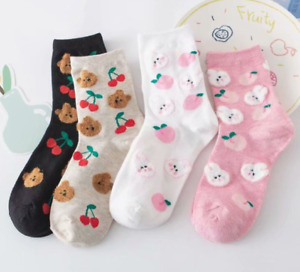 Pack of 4 Super Cute Women Ladies Floor Embroidery Cotton Winter Warm Socks