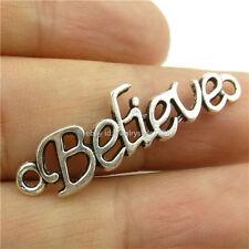 14694*30PCS Antique Silver Vintage Believe Words Pendant Connector Charm Alloy