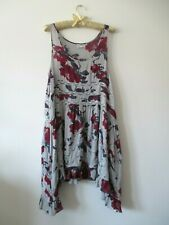 Free People Intimately Gray Floral Lace Trim Voile Lace Trapeze Slip Dress M