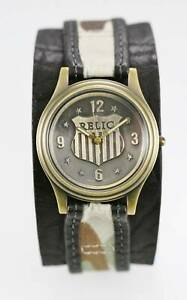 Relic Watch Mens Camo Black Cuff Leather Water Resistant Stainless Gold Quartz