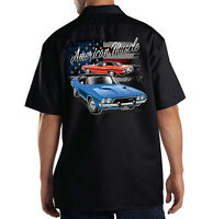 Dickies Mechanic Work Shirt American Muscle USA Flag Dodge Charger Hot Rat Rod