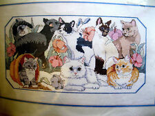 """kit From the Heart 53522 cats PURRFECT GARDEN cross stitch 17x10"""" Stitches Taken"""