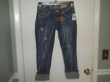 Almost Famous Ladies/Juniors Stretch Denim Cropped Jeans Size 1 Distressed NWT