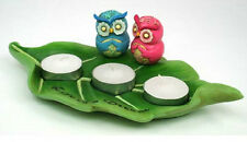 Inpirational Cast Poly Resin Pink & Blue Owl T-Light Candle Holder Home Decor