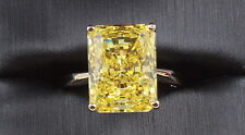 14K Yellow Gold 8.20 CT FANCY YELLOW  RADIANT CUT VVS1  Wedding Engagement Ring