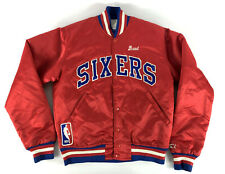 Philadelphia Sixers 76ers Starter Satin Jacket Snap Red Vintage '80s Size Small