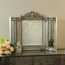 Silver Resin Ornate Dressing Table Triple Mirror Shabby French Chic Bedroom Home