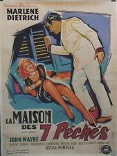 LA MAISON DES 7 PECHES (SEVEN SINNERS) Affiche ent. Marlene DIETRICH, John WAYNE
