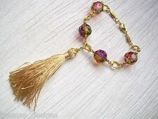 "MAGENTA RAINBOW BEADED TASSLE GOLD PLATED CHAIN 8"" Wrist Bracelet Gay Interest"