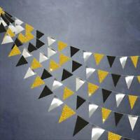 Gold and Black Triangle Flag Banner kit for Graduation Anniversary Office Decor